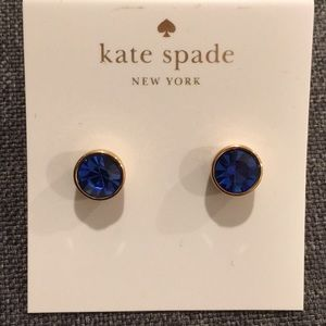 Kate Spade gold with blue stone post earrings